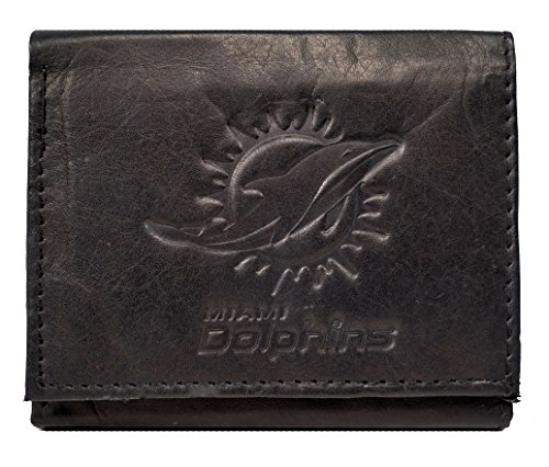 Rico Miami Dolphins NFL Embossed Logo Black Leather Trifold Wallet