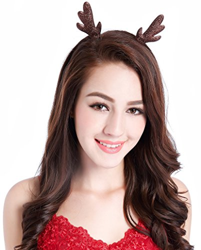 CAKYE Glitter Antlers Christmas Headband Party Headband (One Size, Brown)