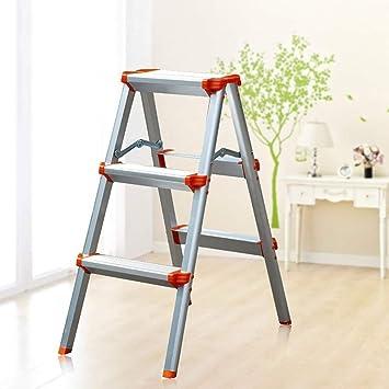 GBX Taburete Plegable Fácil Y Multifunción, Escalera Plegable, Escalera de Aluminio de Doble Cara para Fotografía, Hogar Y Pintura 330 Lb de Capacidad/Plata,Naranja,Taburete de Tres Pasos: Amazon.es: Bricolaje y herramientas