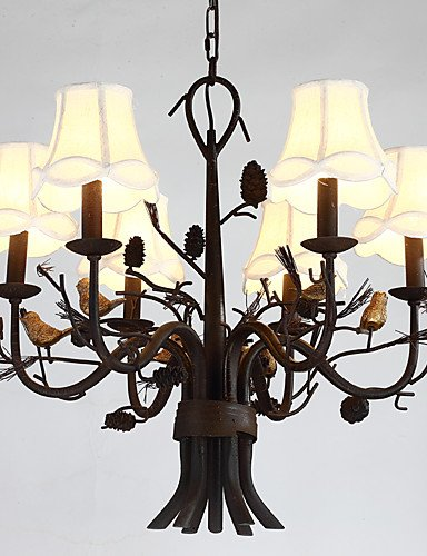 Modern LED Ceiling lamp6 Heads Branch Bird with Pine cones Resin Chandelier Lamp Fit fot the Hotel / Coffee Room Decorate Chandelier Light , 110-120v