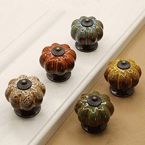 ドアハンドル 10セラミックドアノブヴィンテージシックな食器棚引き出しプルハンドルのセット 使いやすい (Color : Green, Size : 40mm)