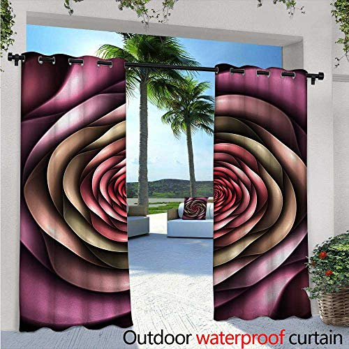 (BlountDecor Spires Indoor/Outdoor Single Panel Print Window Curtain W72 x L108 Rose Petals Curved Winds Around Fixed Center Point at Increasing Digital Design Silver Grommet Top Drape Multicolor)
