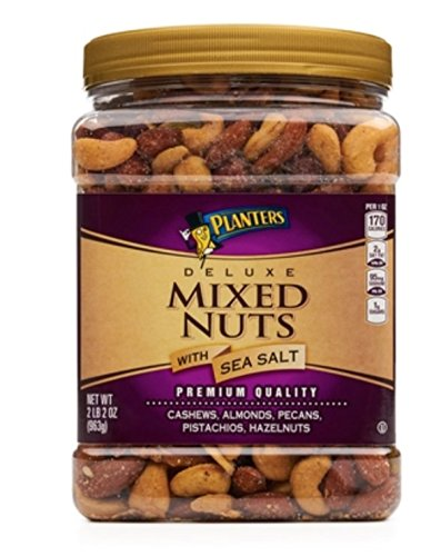 PLANTERS Deluxe Salted Mixed Nuts, 34 oz. Resealable Canister | Contains Cashews, Almonds, Pecans, Pistachios & Hazelnuts Seasoned with Sea Salt
