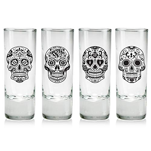 Day of the Dead Sugar Skulls Cordial Glasses, Set of 4