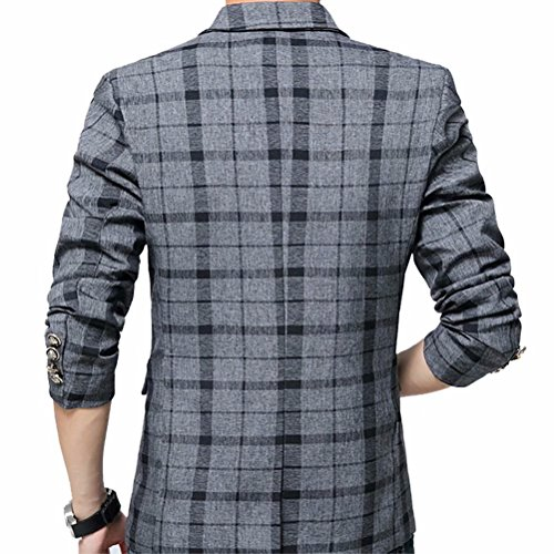 Men's Blazer Jacket Plaid Slim Fit Sport Coat One Button Notch Lapel Casual Business Coat Single Breasted Outwear by SUSIELADY (Image #2)