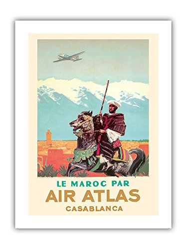 Casablanca  Morocco   By  Le Maroc Par  Air Atlas   Vintage Airline Travel Poster By Albert Brenet C 1950   Premium 290Gsm Gicl E Art Print 12In X 16In
