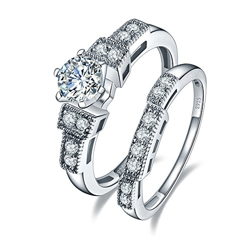 Classy Engagement Ring Set (BONLAVIE 1.25ct Cubic Zirconia Wedding Anniversary Engagement Ring Bridal Set 925 Sterling Silver 10)