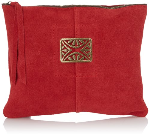 Sous les pavés mini lever de soleil, Pochette Donna, Taglia Unica Rouge (Velours Rouge / rectangle)