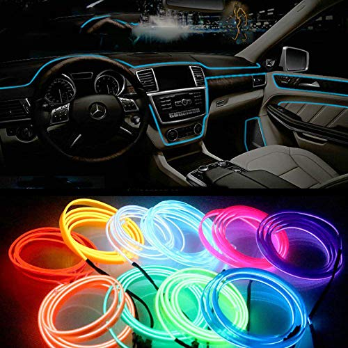 1M/2M/3M/5M Car Interior Lighting Auto LED Strip Garland EL Wire Rope Tube Line Flexible Neon Light with 12V USB Cigarette Drive Red 1M USB Drive