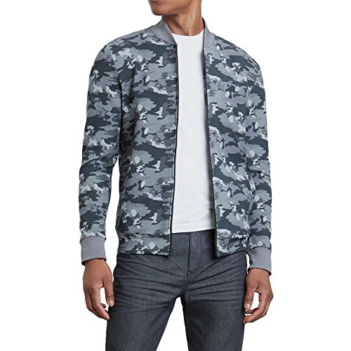 Kenneth Cole REACTION Camo Print Bomber Jacket Ash Grey ()