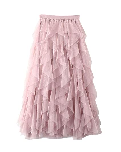 Shaoyao Falda Tul Mujer Faldas Midi Irregular Plisada Cintura ...