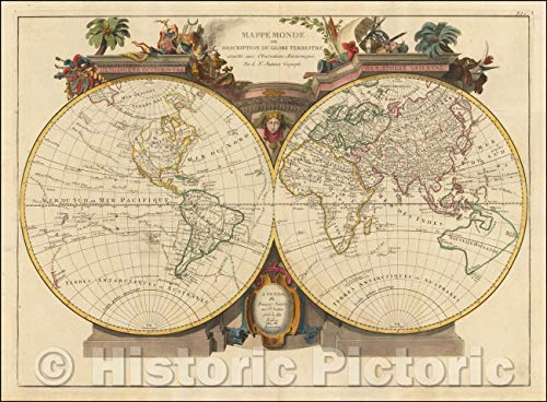 Historic Map | Mappe Monde ou Description Du Globe Terrestre assu/Double hemisphere Map of the World, published in Venice, 1776, Paolo Santini | Vintage Wall Art 60in x 44in