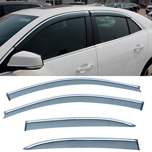 Chevy Malibu Sun Visors (CUSTOM 4pcs Smoke Tint With Chrome Trim PVC Outside Mount Tape On Style PVC Sun Rain Guard Vent Shade Window Visors Fit 13-15 Chevy Malibu)