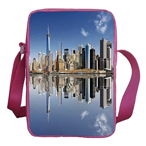 (New York City Stylish Kids Crossbody Bag,Manhattan Island Silhouette with Skyscrapers Towers Famous Island Decorative for Girls,9
