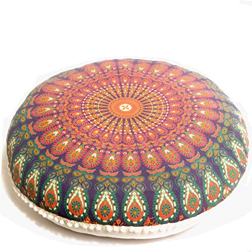 - Mandala Life ART Yoga Decor Floor Cushion Cover - Round Medition Pillow Case - Hand Printed Organic Cotton Pouf