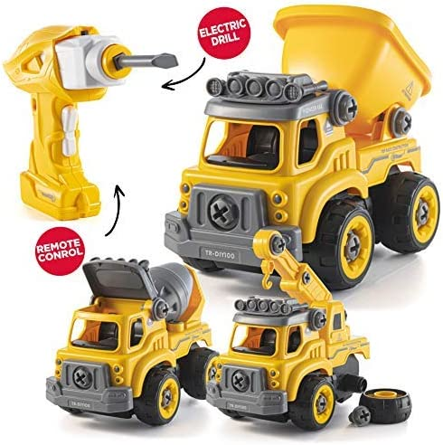 Amazon.com: Take Apart Toys with Electric Drill | Converts to Remote Control Car | 3 in one Construction Truck Take Apart Toy for Boys | Gift Toys for Boys 3,4,5,6,7 Year Olds | Kids Stem Building Toy: Toys & Games