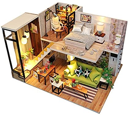 Amazon Com Kisstaker Dollhouse Kit Tiny House Building Kit Miniatures Diy Mini Wooden House With Dustproof Cover Furniture Music Chip Assemble Tool Northern Europe Toys Games