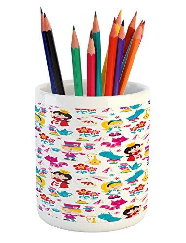 Ambesonne Nursery Pencil Pen Holder, Cute Cartoon Style Quee