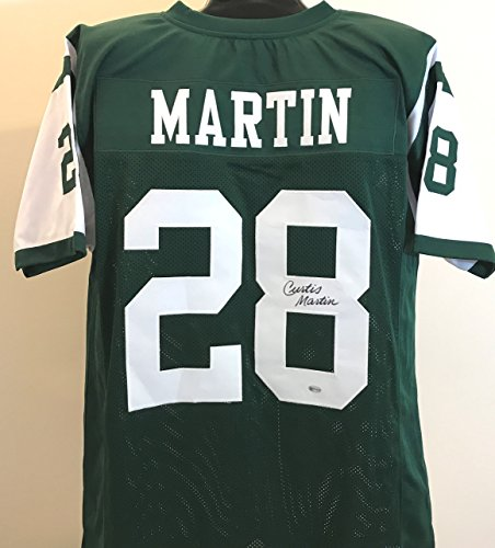 Curtis Martin Autographed Custom Green Jersey - New York Jets Legendary Running - Martin Curtis York Jets New