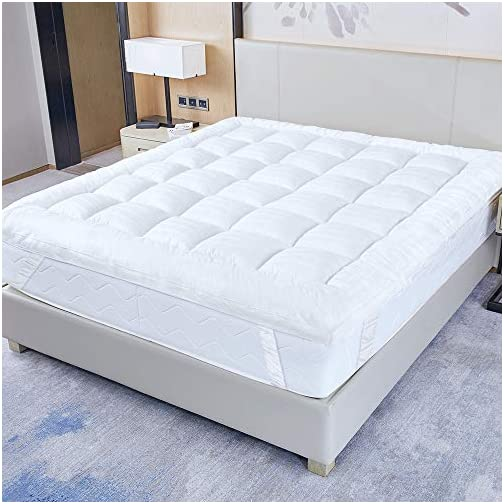 UPGRADED! 3-Inch Extra Thick Mattress Topper with 100% Cotton Cover, Twin Size, New & Improved Down Alternative Bed…
