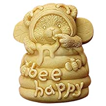 Lingmoldshop Bee Happy Craft Art Silicone Soap mold DIY Candy mould Craft Molds Handmade Candle molds