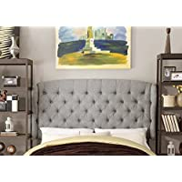 Millbury Home Feliciti Tufted With Wings Queen Upholstered Headboard, Gray