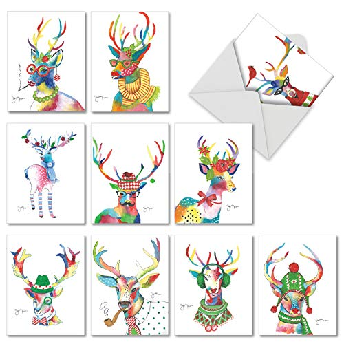 Fancy Reindeer: 10 Assorted Christmas Notecards Showing Brightly Colored Creaturing in Holiday Garb, with Envelopes. AM6751XSG-B1x10