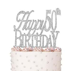 Amazon.com: Happy 50th, Birthday Cake Topper, Crystal ...