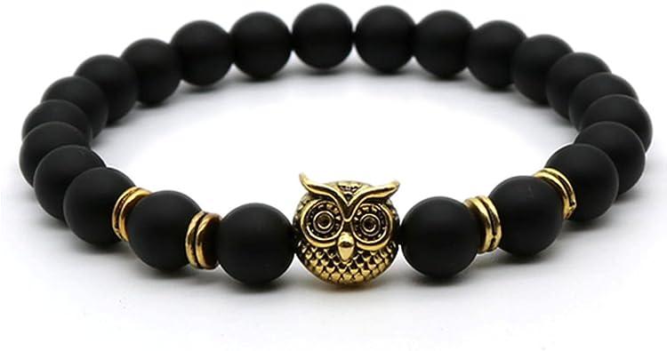 Owl Black Matte Beaded Bracelet For Women Teens Birthday