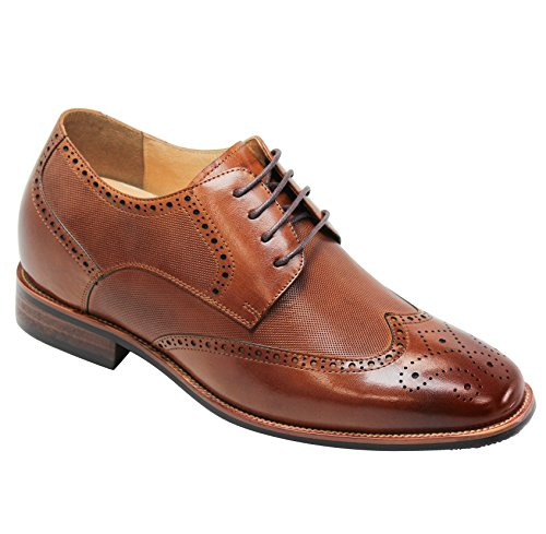 CALTO Men's Invisible Height Increasing Elevator Shoes - Brown Premium Leather Wing-tip Lace-up Formal Oxfords - 3 Inches Taller - Y10652 - Size 8 D(M) US