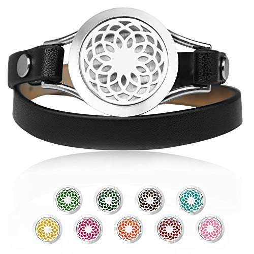 JANE STONE Essential Oil Diffuser Bracelets Aromatherapy Bracelet Black Genuine Leather Band Sunflower Jewelry for Women with 9 Color Washable Pads