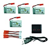 Gbell 4x 3.7V 750mAh Intelligent Flight Lipo Battery+ 4in1 USB Charger For MJX X400 For SYMA X5 RC Quadcopter (Black)