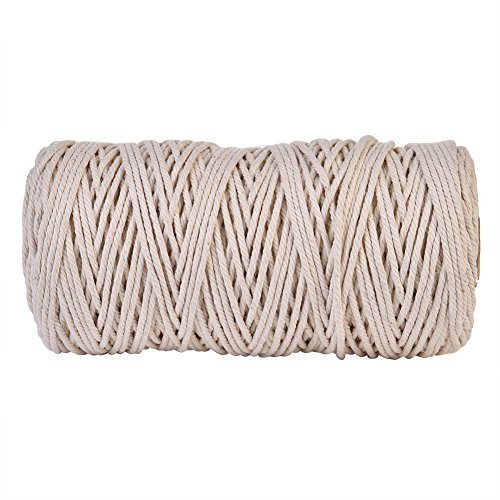 SHZONS Cotton Rope Handmade DIY Off-White Cotton Rope Knitting Braided Decorative Yarn Luggage Drawstring Curtain Tied Rope