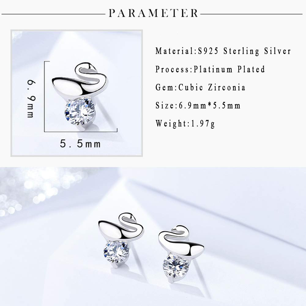 Stud Earrings for Women,Silver Swan CZ Studs Earring for Girls Small Stainless Steel Stud Earring with Crystal