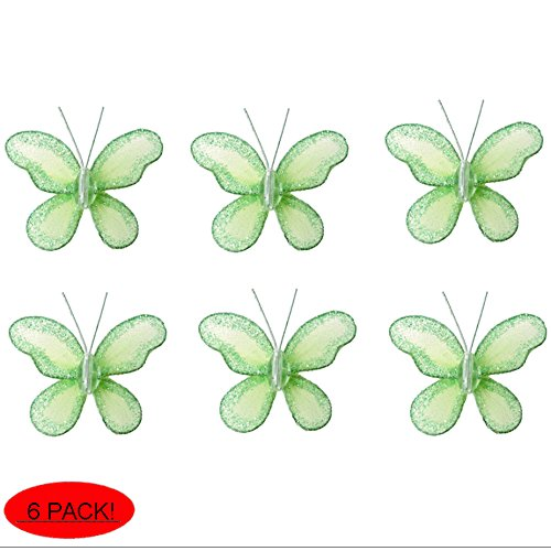 Butterfly Decor 2 Green Mini X-Small Glitter Nylon Mesh Butterflies 6 Piece Decorations Set Decorate Baby Nursery Bedroom Girls Room Wall Wedding Birthday Party Shower Crafts Scrapbooks DIY Bugs-n-Blooms