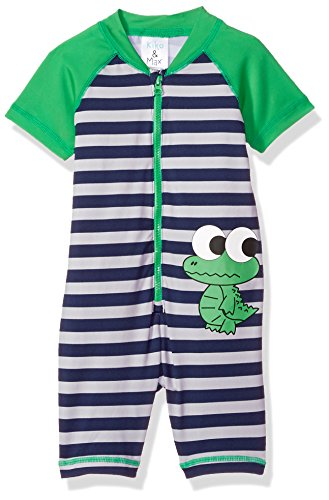 Kiko & Max Baby Boys Full Body Rash Guard Swim Suit Coverall, Green Frog, 3-6 Months