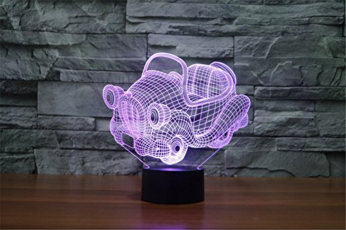 ATC Mini Cartoon Toy Car Shape 3D Visual illusion Effect USB Colorful Gradient LED Desk Lamp,Interesting Night light for Baby Room Decor or a Cute Gift for Kids