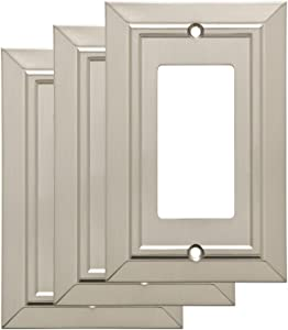 Franklin Brass W35219M-SN-C Classic Architecture Single Decorator Wall Switch Plate/Cover (3 Pack), Satin Nickel