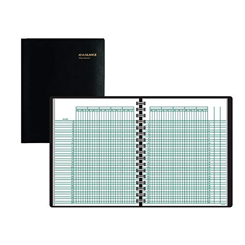 AT-A-GLANCE 8015005 Undated Class Record Book, 10 7/8 x 8 1/4, Black