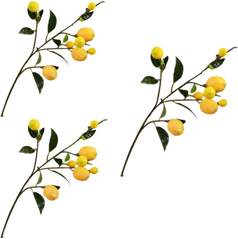 Yugust Artificial Lemon Branch,3Pcs 36inch Simulation Fruits Tree Stem with Green Leaves for Spring Farmhouse Style Home Decor Flower Arrangement(Yellow Lemon)