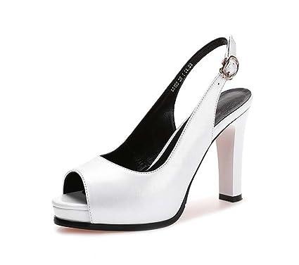 zapatos de mujer de cuero rugoso con con con tacones altos Primavera y 810f72