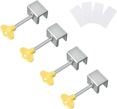 Cierre Ventana Corredera, Yuccer Bloqueo Puertas Correderas Cerradura de Seguridad para Ventana Corredera Ajustable (Cerradura de aleación de aluminio 4 PCS): Amazon.es: Bricolaje y herramientas