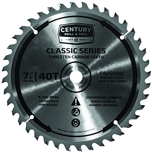 Century Drill and Tool 9208 TCT Carbide Finishing Circular Saw Blade, 7-1/4-Inch