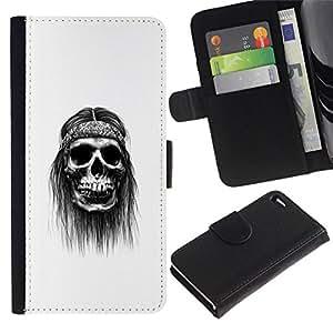NEECELL GIFT forCITY // Billetera de cuero Caso Cubierta de protección Carcasa / Leather Wallet Case for Apple Iphone 4 / 4S // Hippy cráneo