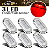 Partsam 6Pcs 3'' Clear/Red Interior/Exterior 3LED Courtesy Cabin Walkway Accent Light Sealed