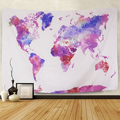 Watercolor World Map Tapestry Colorful Multi Splatter Abstract Painting Tapestry Wall Hanging Art for Living Room Bedroom Home Decor(World map,51.2