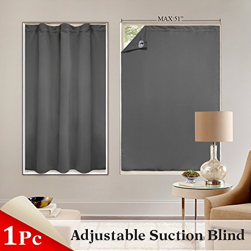 PONY DANCE Blackout Blinds Window Cover Portable Adjustable Travel Blackout Curtains Light Blocking Stickers Panel Suction Cups Sliding Door, 51'' x 78'', One Piece, Gray by PONY DANCE