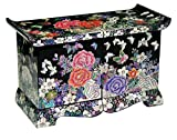 Jmcore Mother of Pearl Black Peony Flower Design Jewelry Box Display Nacre Handcrafted Jewellry Case (Middle)