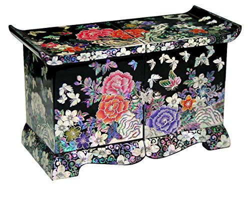 Jmcore Mother of Pearl Black Peony Flower Design Jewelry Box Display Nacre Handcrafted Jewellry Case (Middle) by JMcore Jewelry Box