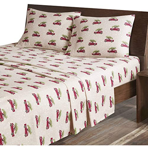 Woolrich Flannel California King Bed Sheets, Lodge/Cabin Tan Cars Bed Sheet, Bed Sheet Set 4-Piece Include Flat Sheet, Fitted Sheet & 2 Pillowcases ()